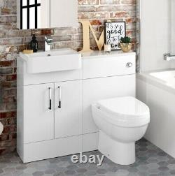 1000mm Slimline Square High Gloss Combined Vanity Unit back to wall toilet wc