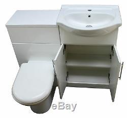 1050 Back To Wall Bathroom Vanity 550 Ceramic Basin Unit & Toilet Pan White