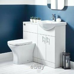 1050mm Combination Vanity & Toilet Set Back to Wall Pan & Seat White Modern