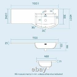 1100 mm Grey Right Handed Vanity Unit and Back To Wall WC Toilet