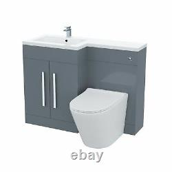 1100mm Left Hand Basin Vanity Unit and WC Back To Wall Toilet