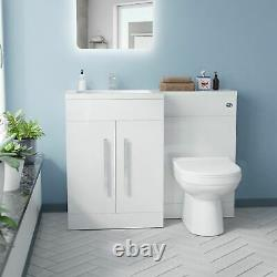 1100mm Left Hand Basin White Vanity Cabinet and WC Back To Wall Toilet Aubery