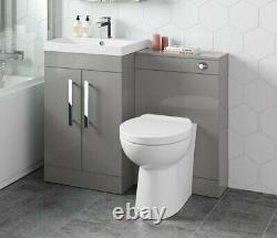1100mm Pebble Grey Square High Gloss Combined Vanity Unit back to wall toilet wc