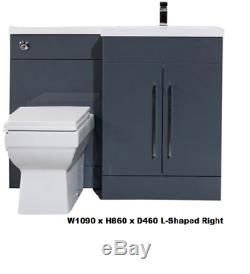 1100mm Vanity Unit Furniture Back to Wall WC Toilet Basin Sink Grey L Shaped