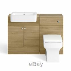 1160mm Harper Oak Effect Combined Vanity Unit toilet pan basin Back to Wall Pan