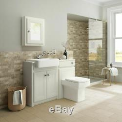 1167mm Cambridge Clotted Cream Combined Vanity Unit Back to Wall Pan & Mirror