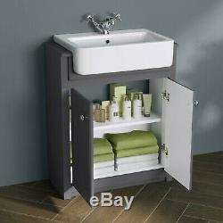 1167mm Midnight Grey Combined Vanity Unit Back to Wall Pan Toilet floor stand