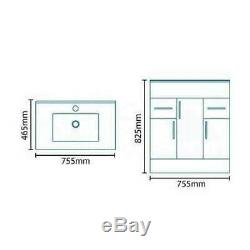 1250mm Combination Vanity & Toilet Unit with Back to Wall Pan & Seat White