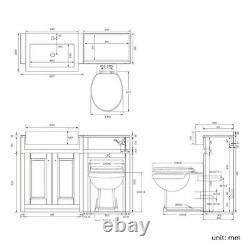 1567mm Matt White Combined Vanity Unit Back to Wall Pan Toilet Wc floor stand