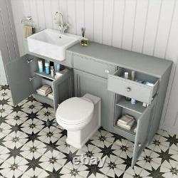 1567mm Midnight Grey Combined Vanity Unit Back to Wall Pan Toilet Wc floor stand