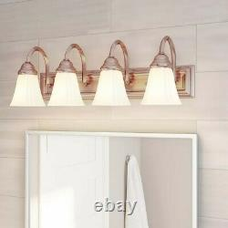 4-Light Brushed Nickel Vanity Light with Frosted Glass & Square Back Plate 24 in