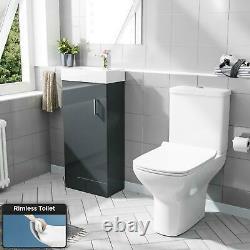 400mm Floor Standing Vanity Gloss Dark Grey + Rimless Back Close Coupled Toilet