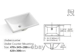 43 In Bathroom Vanity Top Rectangle Undermount Ceramic Sink Back Splash