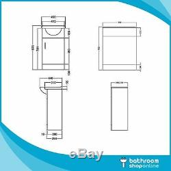 450mm Bathroom Furniture Vanity Unit Cabinet Toilet Basin Back To Wall Cloakroom