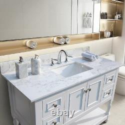 49In Bathroom Vanity Top with Rectangle Undermount Ceramic Sink and Back Splash