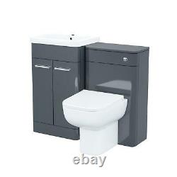 500mm Grey Vanity Cabinet and WC Unit with Back TO Wall WC Toilet Afern