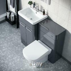 500mm Steel Grey Vanity Cabinet and WC Unit with Back TO Wall WC Toilet Afern