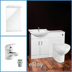 500mm White Bathroom WC Unit Vanity Unit Back To Wall Pan Concealed Cistern Tap