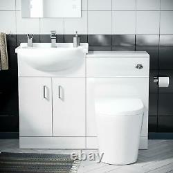 550 mm Basin Vanity Sink Cabinet & Back To Wall WC Toilet Combined Suite