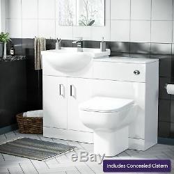 550 mm Cloakroom Basin Vanity Sink Unit & Back To Wall Toilet Suite Debra