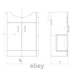 550mm Cloakroom Suite Vanity Unit Basin RAK Back to Wall RIMLESS Toilet Cistern