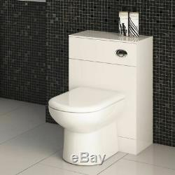 600 /200 WC Unit Compact White Gloss Vanity Back to Wall Bathroom Furniture MDF
