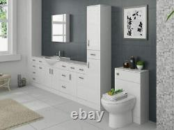 600/300mm WC Unit White Gloss Bathroom Cloakroom Vanity Back to Wall Furniture