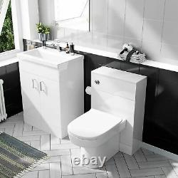 600 mm Basin White Vanity Cabinet & Back To Wall WC Toilet Suite Nanuya