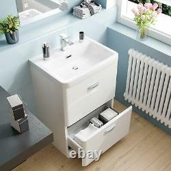 600mm 2 Drawer White Basin Vanity Cabinet + WC Back To Wall Toilet Suite Artum