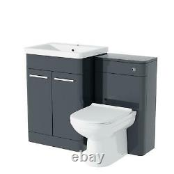 600mm Anarthrite Vanity Basin Cabinet with WC Back To Wall Toilet Unit Amie