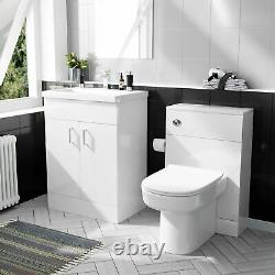 600mm Basin White Flat Pack Vanity Cabinet & Back To Wall WC Toilet Suite Nanuya