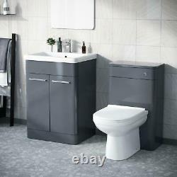 600mm Steel Grey Vanity Basin Cabinet with WC Back To Wall Toilet Unit Amie