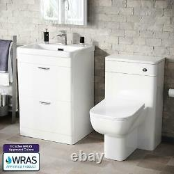 600mm White 2 Drawer Vanity Cabinet and WC BTW Back To Wall Toilet Suite