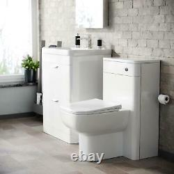 600mm White 2 Drawer Vanity Cabinet and WC BTW Back To Wall Toilet Suite Artum
