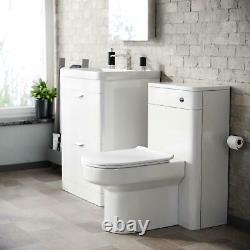 600mm White 2 Drawer Vanity Cabinet and WC BTW Back To Wall Toilet Unit Artum