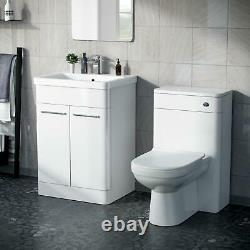 600mm White Vanity Basin Cabinet with WC Back To Wall Toilet Unit Amie