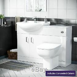 650 mm Cloakroom Basin Vanity Sink Unit & Back To Wall Toilet Suite Ingersly