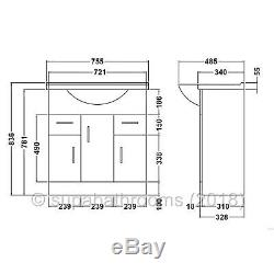 750mm Vanity Unit Basin Sink Back to Wall Linton Toilet Bathroom Furniture Suite