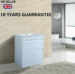 750mm White Gloss 100% Waterproof Vanity Unit Square Basin Storage Soft Closing