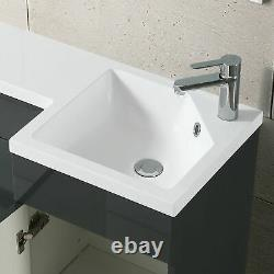 900mm Grey LH RH Basin Sink Vanity Unit WC Back To Wall Toilet Combination