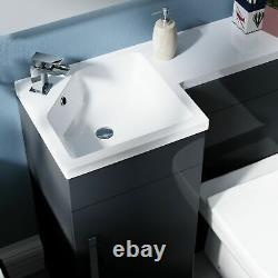900mm Left Hand Basin Dark Grey Vanity Cabinet and Back To Wall Toilet Finn