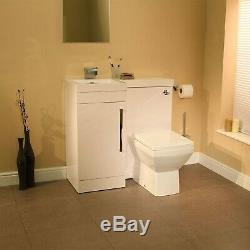 900mm Left Hand Combination Unit Single Door Vanity & Back to Wall Toilet Modern