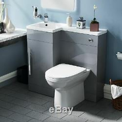 900mm Light Grey Vanity Unit Left Hand Basin and Back to Wall WC Toilet Ellis