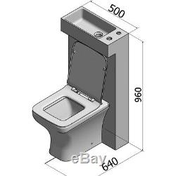 All in one Space Saving Back to Wall Toilet WC & Basin Combination Pack White