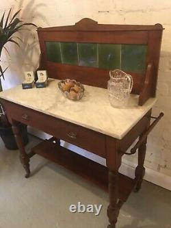 Antique Tile Backed Bathroom Wash Stand Vanity Unit Vintage Drawers Green Marble