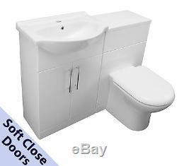 BACK TO WALL VANITY UNIT CERAMIC SINK BASIN WC UNIT TOILET PAN WHITE 1150mm WIDE
