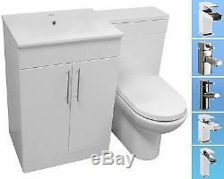 BATHROOM VANITY UNIT BACK TO WALL SLIM WC TOILET CISTERN BASIN SINK TAP 1100mm