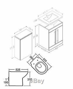 BATHROOM VANITY UNIT BACK TO WALL WC TOILET CISTERN BASIN SINK TAP 1100mm WHITE