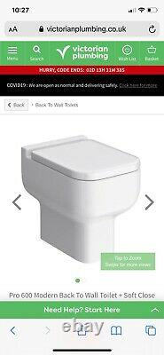 Back to Wall BTW Square WC Pan Toilet Seat Concealed Cistern & WC Units & vanity