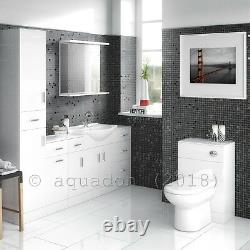 Back to Wall BTW WC Pan Toilet Concealed Cistern, Seat & Vanity Unit